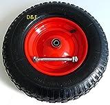 Rueda de carretilla 4.80/4.00-8, incluyeeje de 390mmdiámetro, 200kg, 4PR