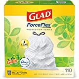 Glad Trash & Food Storage ForceFlex Protection Series Tall Trash Bags, 13 Gal, Gain Original with Febreze, 110 Ct (Package May Vary),White,79260