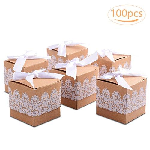 100 Bianco Tomkity Scatola Bomboniera Scatolina Portaconfetti Segnaposto Carta Kraft per Compleanno Battesimo