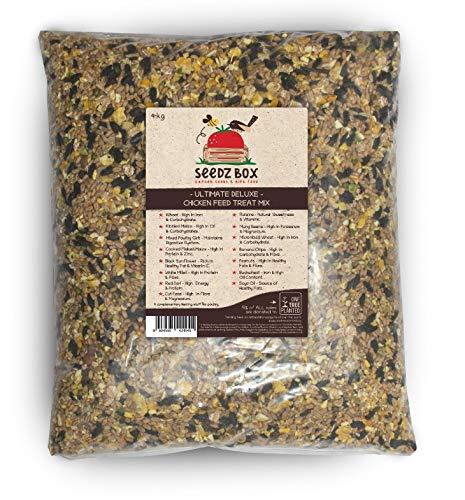SeedzBox Ultime luxe, Mélange Aliments pour Poules/Poulets - Nourriture Naturelle, Contient Gruau de Volaille, Millet, Blé - Encourage Grattage de Sol - Riche en Protéines, Calcium, Fibres - Sac 4kg