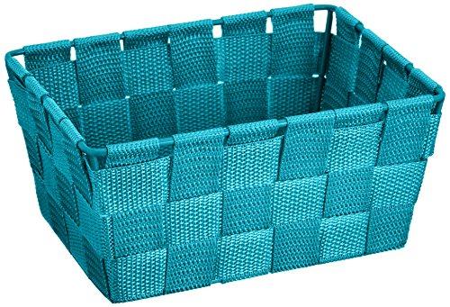 WENKO Aufbewahrungskorb Adria Mini Petrol - Badkorb, rechteckig, Kunststoff-Geflecht, Polypropylen, 19 x 9 x 14 cm, Petrol