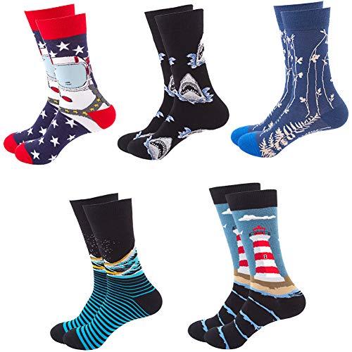 Calcetines de algodón multicolores con diseños divertidos unisex para hombre y mujer, 5 pares, calcetines deportivos para llevar con zapatillas