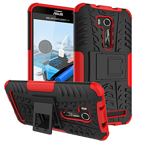 PAIPAIGUAN ASUS Zenfone Go ZB551KL(5.5 Zoll) hülle(Silikon Series) TPU + PC 2-in-1-Double-Layer-idealer Schutz,Stoßfest Handyhülle Drop Resistance Handys Schutz Hülle mit Ständer für-Rot