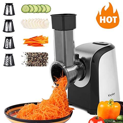 Meykey Electric Küchenreiben Schnitzelwerk Salad Maker Zerkleinerer Food Reibe Slicer/Elektrische Reibe/Chopper mit 4 Edelstahl-Einsätze, 150W - Schwarz