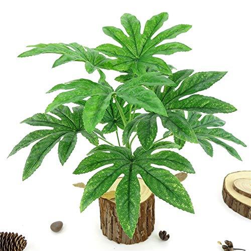 JYKFJ 9 Blätter / 1Pc künstliche grüne Pflanze Fatsia Leaf Simulation Bonsai Home Decor - grüne künstliche Pflanzen Home Decor Geschenk
