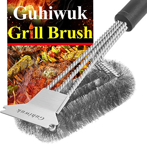 Guhiwuk Grill Brush and Scraper - 18 Inch Stainless Steel Wire Bristle Cleaner Brush - Barbecue Cleaning Brush for Gas/Charcoal Grates - BBQ Grill Accessories