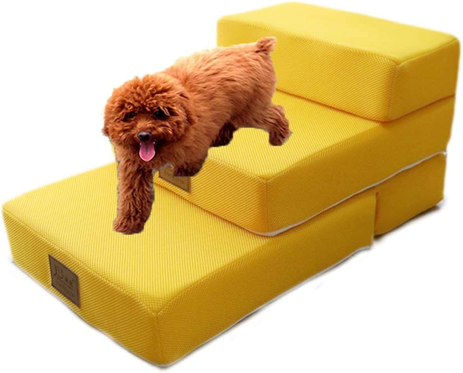 Pet Stairs Yellow Foldable  Cozy Dog Bed Ladder with Breathable Mesh Detachable Cover for Small Animal (Size   3STEP)
