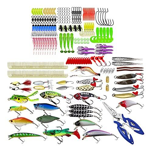 Nobranded Juego de señuelos de Pesca 300x, Kits de cebos Blandos Artificiales universales Mixtos, cebos Duros, Aparejos de señuelos de Pesca de Agua Dulce de