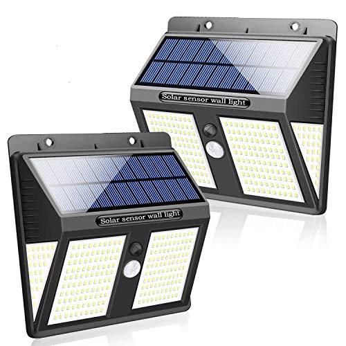 SYOSIN Solarlampen für Außen, 250 LED Super Bright Bewegungsmelder Sicherheitsleuchten mit 270 ° Weitwinkel Wasserdichte, solarbetriebene Lampe Nachtlicht für Hof,Outdoor/Indoor Wandleuchte