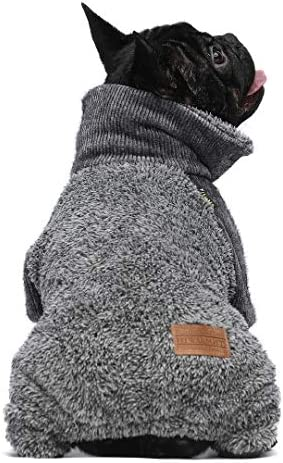 Fitwarm Fuzzy Thermal Turtleneck Dog Clothes Winter Outfits Pet Jumpsuits Cat Coats Velvet Grey product image