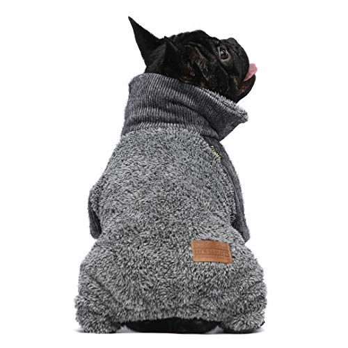 Fitwarm Fuzzy Thermal Turtleneck Dog Clothes Winter Outfits Pet Jumpsuits Cat Coats Velvet Grey XXL
