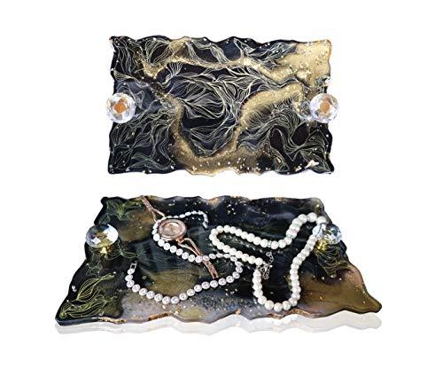 Bandeja Decorativa con Perillas de Cristal ,Resina Bandeja Decorativa Adornada para Perfume, Joyería y Maquillaje,Plato de exhibición de joyas, bandeja de exhibición, soporte organizador de platos