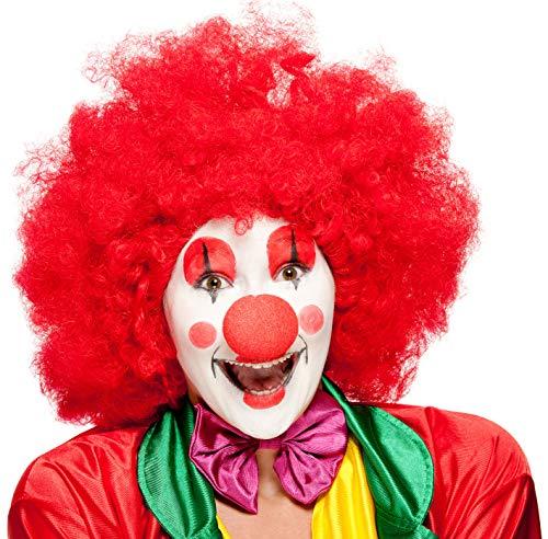 Balinco Rote XXL Afro Clown Perücke für Herren & Damen geeignet als Ergänzung für das Clowns Kostüm