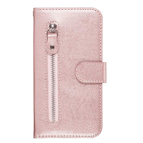 Leather Cover Compatible with Samsung Galaxy S10e, Card Holders Kickstand Premium Rose Gold Wallet Case for Samsung Galaxy S10e