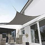 Kookaburra Toldo Vela Carbón Impermeable 160g/m² Poliéster Protección Solar 98% Anti UV para Exteriores, Patios, Jardines, Terraza, Balcón (Cuadrado 2,0m)