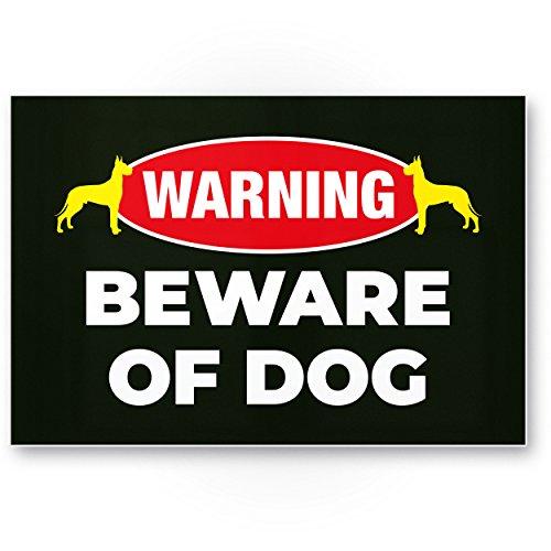 Beware of Dog (schwarz) - Hunde Kunststoff Schild, Hinweisschild Gartentor/Gartenzaun - Türschild Haustüre, Warnschild Abschreckung/Einbruchschutz - Achtung/Vorsicht Hund