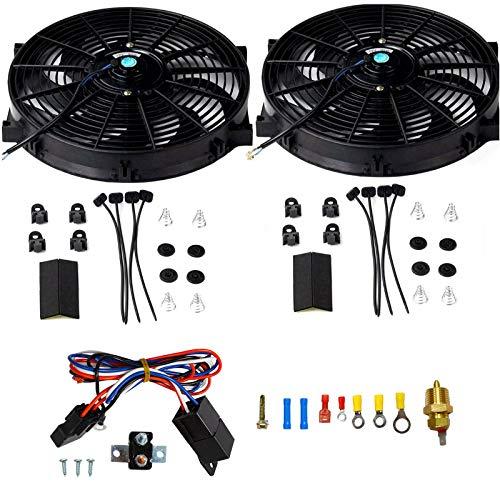 "BLACKHORSE-RACING 14"" Universal Electric Radiator Cooling Fans + Thermostat Relay & Mount Kit (2 Pcs)"
