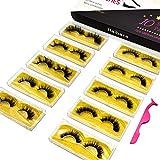 Haibara Mink Eyelashes Wholesale With Tweezer 10 Pairs Multipack Dramatic and Natural Look 100% Real Siberian eco-friendly lashes