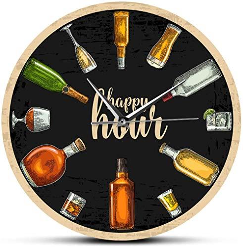 Reloj De Pared Reloj De Pared Digital Happy Hour Wine Time Vino Borracho Reloj De Pared Hombre Cueva Pub Bar Decoración De Pared Restaurante Bebedor De Vino Regalos De Alcohol Bodega Arte Adecuado Par