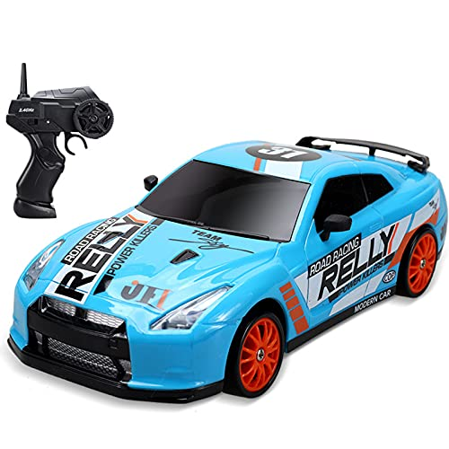 IIIL 1/24 RC Drift Coche 2.4Ghz Coche Teledirigido 4WD Vehículo Carretera Alta Velocidad con Luz LED, Baterías Y Neumáticos Deriva, para Adultos Niños Juguetes Regalos,E