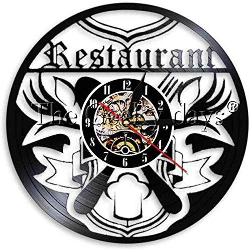 Väggklocka kniv och gaffel väggklocka vinylklocka restaurang mat LP-skiva klocka LED-ljus ram klocka köksdekoration