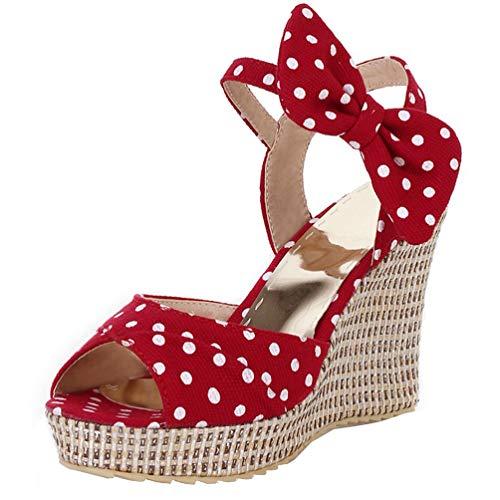 LUXMAX Damen Keilabsatz Sandalen Espadrilles High Heels Punkte Rockabilly Polka Dots Pumps mit Schleife Schuhe Rot 42
