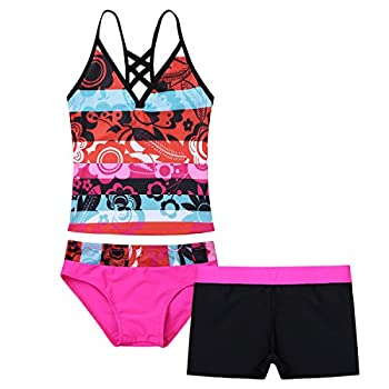 iEFiEL Big Girls  Summer Two Piece Boyshort Tankini Kids Swimsuit Bathing Suit Beachwear Set Hot Pink 3PCS/Set  12