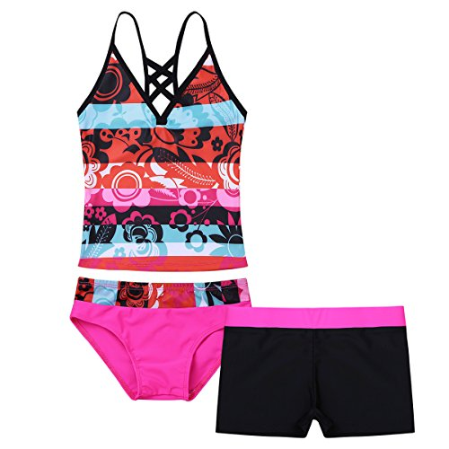 MSemis Kids Big Girls' Youth Two-Pieces Tie-Dye Tankini Swimsuit Bathing Suits Hot Pink 3 pcs 16