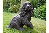 Estatua de jardín en forma de perro de hierro fundido con efecto de bronce