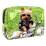 Beauty Case da viaggio Cani in sella a motociclette Valigetta per Cosmetici Borsa Organizzatore Lavabile da Viaggio per Truccatrici con Settori 18.5x7.5x13cm