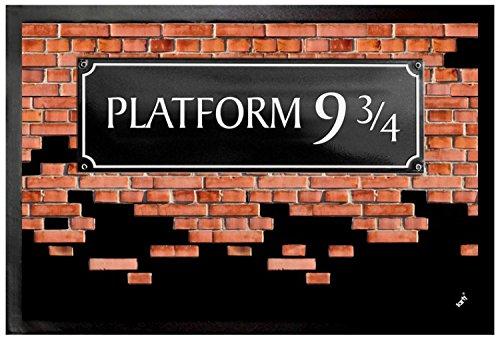 1art1 Ziegelstein-Mauern - Gleis 9 3/4 Fußmatte Innenbereich und Außenbereich | Design Türmatte 60 x 40 cm