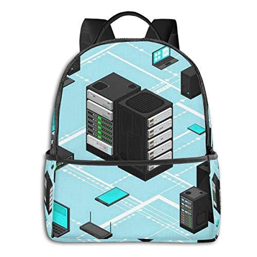 Rucksack Freizeit Damen Herren, Datendaten Netzwerkverwaltung Isometrisch Campus Kinderrucksack, Daypack Schulrucksack Sportrucksack Tablet Tasche 15,6 Zoll