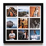 Portafoto da parete quadrato [33 x 33 cm] con 9 aperture [8,5 x 8,5 cm] per creare collage di foto - Cornice per foto multipla in legno in stile INSTAGRAM - Instagram photo frame (Nero)