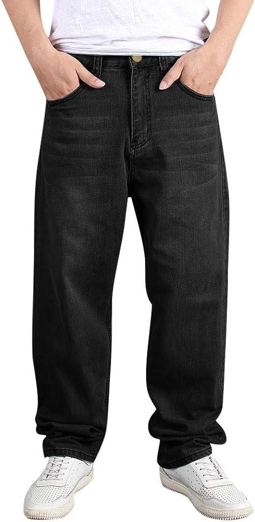 IHGTZS Pants for Men, Men's Loose Large Size Fat Casual Fashion Hip Hop Street Dance Denim Trousers