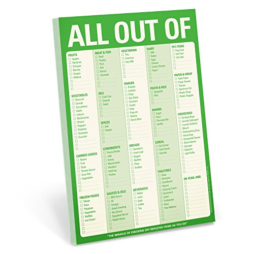 Knock Knock All Out Of Pad Grocery List Note Pad, 6 x 9-inches (Green)