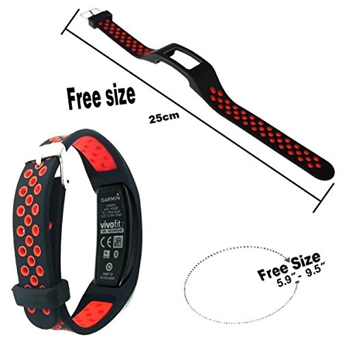 Elespoto Colorful Replacement Wristband Strap for Garmin Vivofit 2 with Clasps Fitness Bands Suitable to (Not for Garmin Vivofit 1/Vivofit 3) (Black Red)