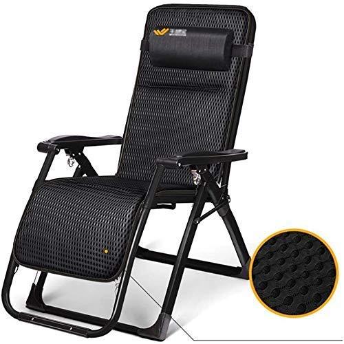 Sun Garden Chair Silla plegable de jardín con gravedad cero tumbona, reclinable con almohada ajustable para personas pesadas, sin almohadilla
