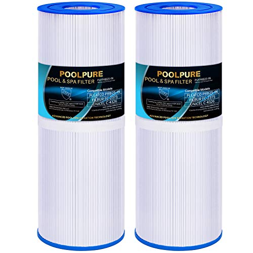 POOLPURE Whirlpool Filter Ersatz Pleatco PRB25-IN, Unicel C-4326, Guardian 413-106, Filbur FC-2375, Pentair R173429, 3005845, 17-2327, 100586, 33521, 25392 Drop in Spa Filter, 2 Stück