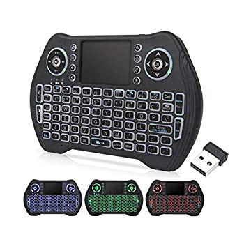 Backlit Mini Wireless Keyboard with Touchpad Mouse Combo Rechargable Li-ion Battery & Multi-Media Handheld Remote for Google Android TV Box,PC,PAD