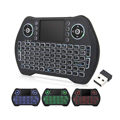 Backlit Mini Wireless Keyboard with Touchpad Mouse Combo, Rechargable Li-ion Battery & Multi-Media Handheld Remote for Google Android TV Box,PS3,PC,PAD
