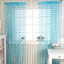 homesazz Beautiful Heart Shape Net Summer Polyester 72 x 48-inch Door Curtain (Blue) - Set of 2