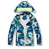 IjnUhb Boys Jacket with Hood, Camo Raincoat for Kids, Waterproof Baby Windbreaker Casual Outerwear(bluecamo 7-8Years)