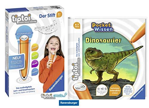tiptoi Ravensburger Buch 4-7 Jahre | Pocket Wissen - Dinosaurier + Ravensburger 008018 Stift - neu mit Aufnahmefunktion