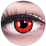 Lentillas de color rojo negro Rojo Lunatic con borde negro 1 par. Para Halloween Carnaval, carnaval de Halloween gratis estuche de lentillas sin graduación