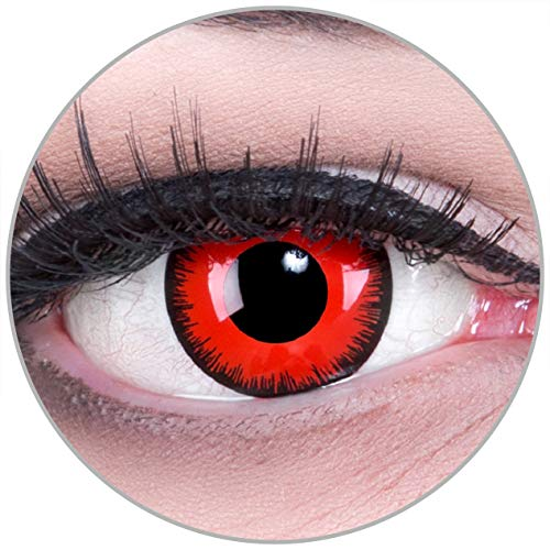 Farbige rote schwarze Red Lunatic Crazy Fun red Motivlinsen. Kontaktlinsen crazy cosplay contact lenses 1 Paar. Perfekt zu Fasching, Karneval und Halloween. Mit gratis Linsenbehälter