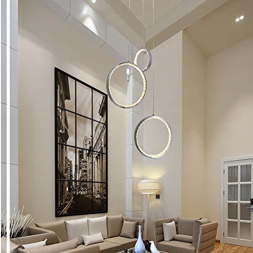 HUIRUI Pendelleuchte Kronleuchter LED Kristall Deckenleuchte Hängelampe DREI Runde Ringe in Verschiedenen Größen Chrome Aluminium Rahmen für Treppenhaus Bar Küche Esszimmer Kinderzimmer,Cool White