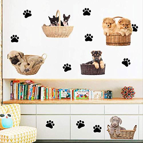 Cartoon Wandaufkleber, Hund Fußabdruck Aufkleber, Hundehütte, niedlichen Kinderzimmer Baby Spaß Wandaufkleber 40 x 60cm Layout