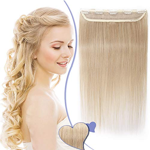 Extension Cheveux Naturel a Clip Raide - #24 BLOND CLAIR - Une Seule Bande - Grade 7A Remy Hair - Clip in Human Hair Extension - 45CM 50G