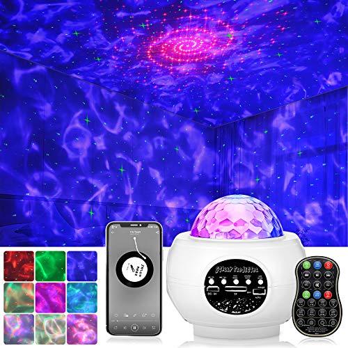 Sternenhimmel Projektor, NINECY LED Nachtlicht, 27 Modus Starry Stern/Wasserwellen Projektionslampe Sternenlicht mit Bluetooth Lautsprecher/Fernbedienung/Timer für Zimmer Dekoration Party Weihnachten