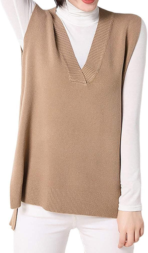 Women Loose V Neckline Side Slit Pullover Knitted Vest Sweater (M, Khaki)